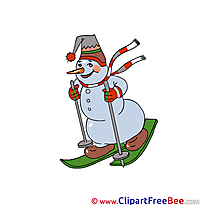 Ski Snowman Pics Winter Illustration
