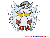 Sledge Snowman printable Illustrations Winter