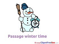 Time Snowman Winter Clip Art for free