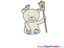 Birdhouse Bear download printable Illustrations