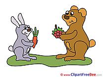 Carrot Rabbit Bear Clip Art download for free