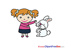 Girl with Hare Images download free Cliparts