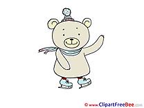 Skates Bear Cliparts printable for free
